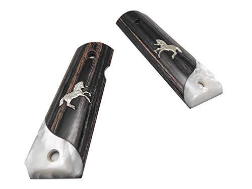 アルタモント コルト M1911 実銃用グリップ ガバメント ランパントホース Colt シルバー パール スムース ブラック ローズウッド RH3