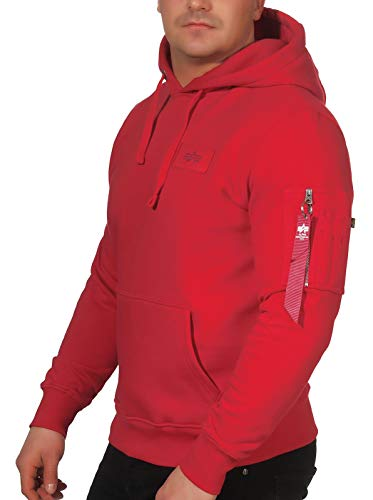 ALPHA INDUSTRIES Herren Back Print Hoody Sweatshirt, Speed Red (178318-328), L
