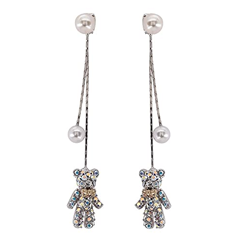 Pendientes de borla larga de perlas de oso de diamantes pendientes salvajes simples femeninos pendientes de aguja de plata 925