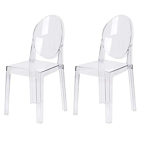 LAFII.T Ghost Chair Transparenter Esszimmerstuhl Kunststoff Küchenstuhl zerlegt und Nicht stapelbar, 2 Stück