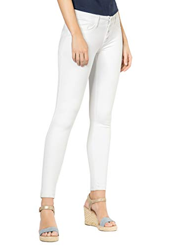 Sublevel Bequeme Damen Skinny Stoff-Hose mit Push-up Effekt White M