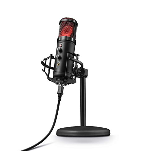 Trust GXT 256 Exxo USB Gaming Mikrofon für PC und PS4 (mit Ständer, Kopfhöreranschluss und Kondersator, RGB LED, für Streaming, Podcast) - schwarz