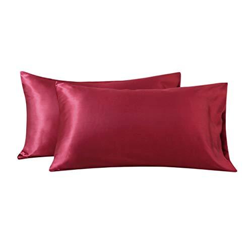 Damier Copricuscino in raso, 40 x 80 cm, rosso satinato e lucido, 2 pezzi, morbido e traspirante, Aurora Red
