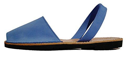 Auténticas Avarcas menorquínas, Abarcas, Albarcas, Sandalias (35, Azul eléctrico, Nobuck)