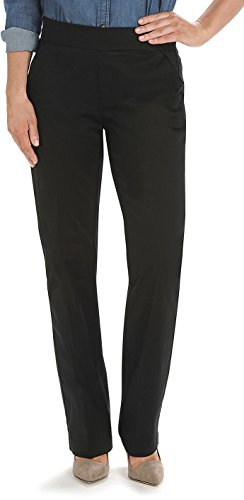 Lee Women's Petite Natural Fit Pull On Dana Barely Bootcut Pant (8 Petite, Black)