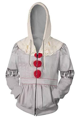 RedJade Herren Damen Kapuzenjacke Pullover mit Kapuze Reißverschluss Sweatjacke Hoodie Pennywise Stephen King's Chapter Two