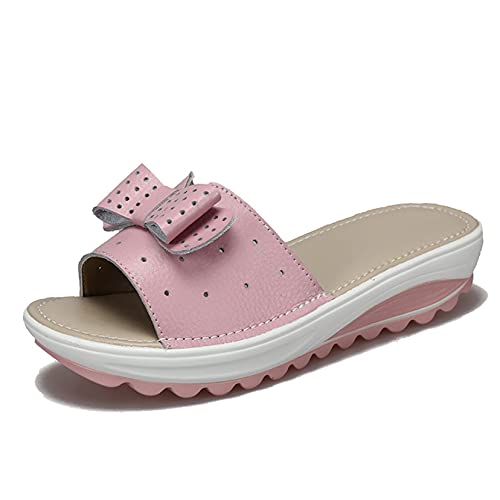 Zapatillas de verano para mujer, sin cordones, para ocio, ligeras, a la moda, con lazo, huecos, pobres, diapositivas, sandalias de interior de Color sólido con punta abierta