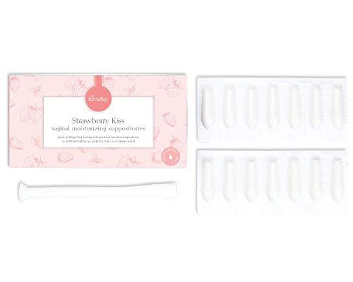 Femallay Organic Strawberry Kiss Vaginal Moisturizing Suppository Melts – 14 Individually Sealed Suppositories + 1 applicator