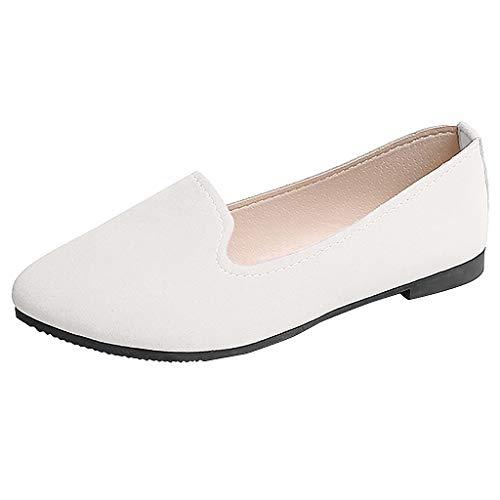 Moda Zapatos de Tacón Bajo de Color Liso para Mujer Jovencita TOPKEAL Casual Zapatos Planos de Trabajo Blanco 38.5