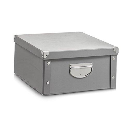 Zeller 17599 Aufbewahrungsbox, Pappe, grau, ca. 40 x 33 x 17 cm