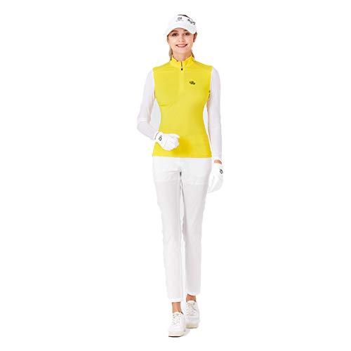 Golfkleding voor Dames, ademende top van ijszijde met zonnebrandcrème en slanke broek Comfortabele golfkleding,Yellow,S
