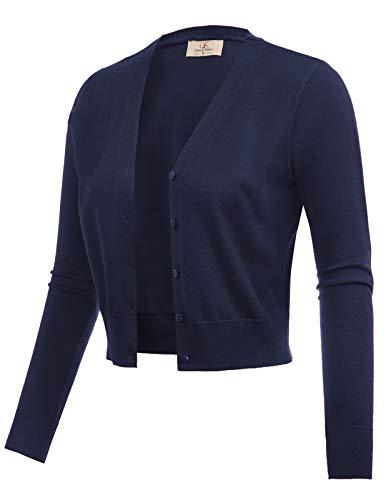 Basic Woven Bolero Shrug Jacket Cardigan Navy Blue Size L CL2000-3