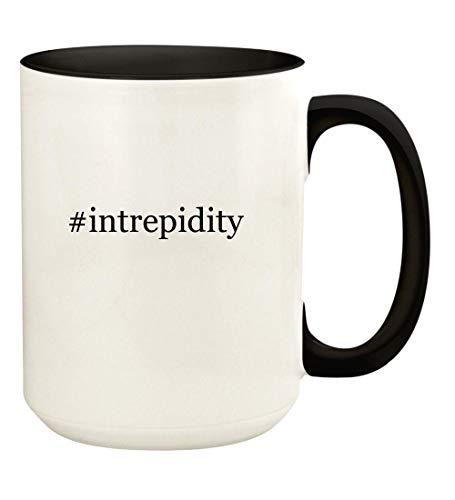 #intrepidity - 15oz Hashtag Ceramic Colored Handle and Inside Coffee Mug Cup, Black