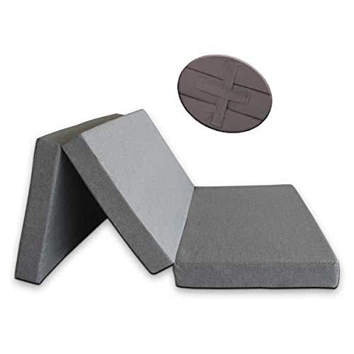 Ventadecolchones - Colchón Plegable con Cierre y Asa 120cm x 190cm x 10cm con Espuma en Densidad 25kg/m3 (extrafirme) en Loneta Exterior Impermeable Gris