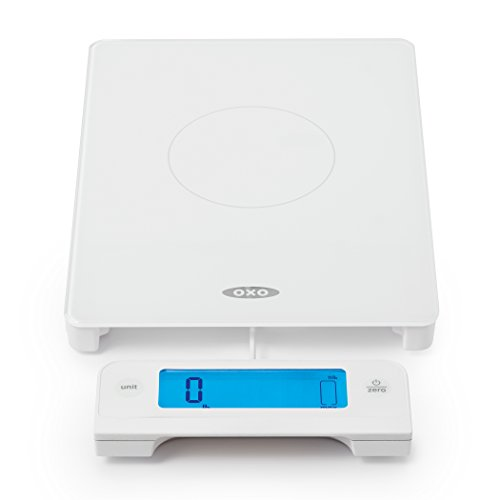 OXO Good Grips Digital Glass Food Scale with Pull Out Display, White