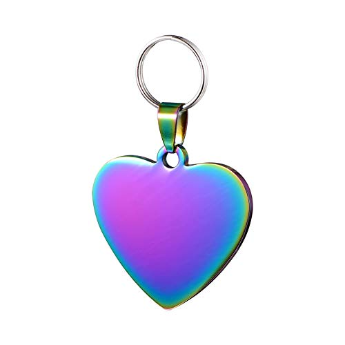 Pet ID Tags Personalized Dog Tags & Cat Tags Premium Engraved Personalised Pet Dog Cat Puppy Name ID Engraved Front & Back Stainless Steel Heart Shape