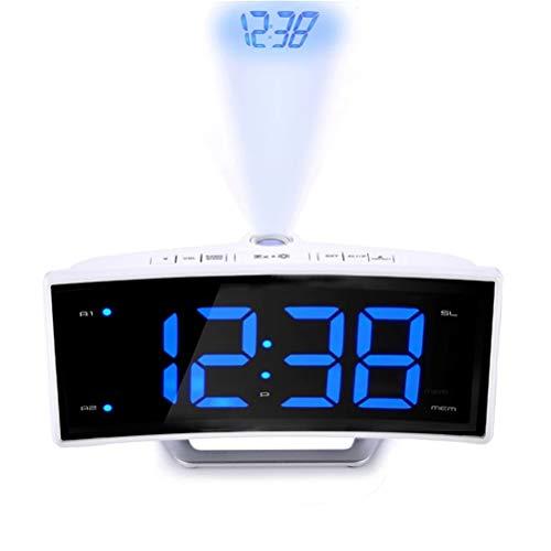 LBPF Projektion Digitaler Uhrradio Für Schlafzimmer Decke, Elektronischer Wecker Mit USB-Ladegerät, Gekrümmte LED-Anzeige, Doppelte Alarme Für Büroschlafzimmer Modernes Radio,B