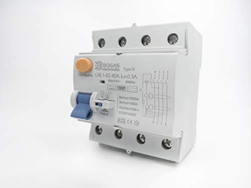 Interruptor Diferencial 40A de Clase/Type B, 4P (3P+N), 300mA y 10kA