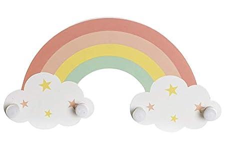 Space Home - Perchero de Pared - Perchero Infantil de MDF - Diseño Arcoiris - 4 Pomos