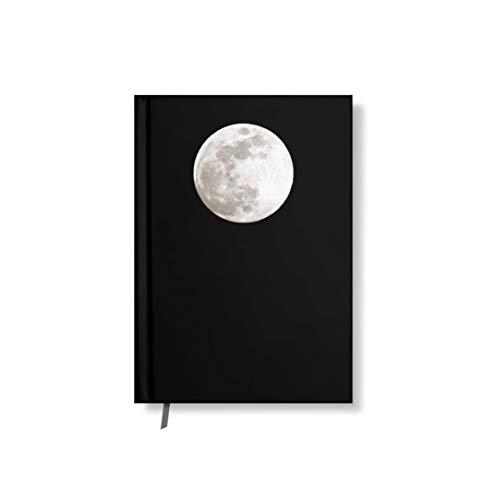 42thinx - Cuaderno de notas con diseño de luna llena en negro, DIN A5 y A4, cuadriculado, rayado o en blanco, con tapa dura y 128 páginas DIN A5 kariert
