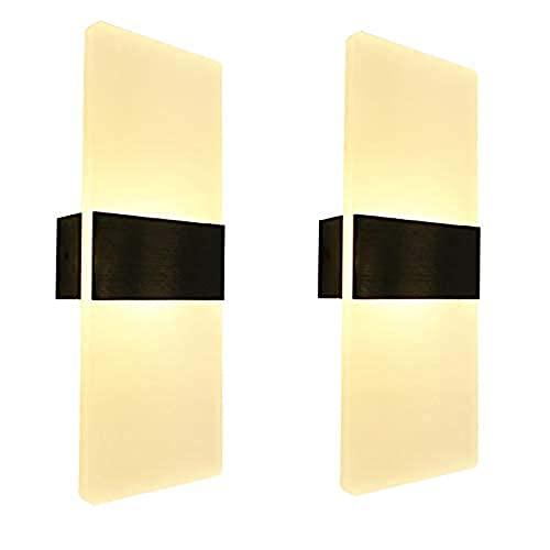 2 Stück LED Wandlampe Innen Modern, USB Wiederaufladbar Touch Control Wandleuchte für Kinderzimmer Wohnzimmer Schlafzimmer Flur Erleuchtung Helligkeit Einstellbar Wandbeleuchtung Warmweiß VOMI