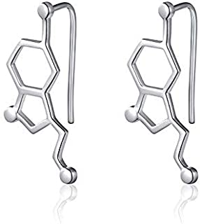 Seratonine earrings Silver- science- electrical engineering gift. STEM Science Engineering Mathematics Technology