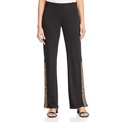 Donna Karan Womens Metallic Striped Straight Leg Pants Black L
