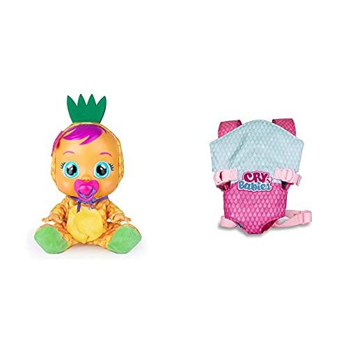 Bebés Llorones Tutti Frutti Pia, La Piña Muñeca Interactiva Que Llora De Verdad con Chupete Y Pijama De Piña con Olor A Fruta + Portabebés Accesorio Muñeca