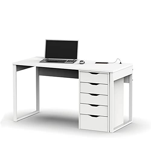 Miroytengo Conjunto Mesa Escritorio + cajonera Color Blanco para Oficina despacho habitación Juvenil Estudio Moderno
