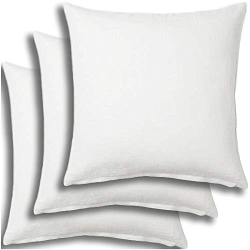 Set of 3 - Pillow Insert 26x26 Decorative Throw Pillow Inserts - Euro Sham Stuffer for Sofa Bed Couch Square White Form 3 Pack - Hypoallergenic Machine Washable and Dry Polyester - Made in USA