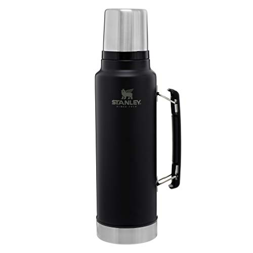 Stanley Classic VacuumInsulatedWide MouthBottle, Matte Black- BPA-Free 18/8 Stainless SteelThermosfor Cold & HotBeverages–Keeps Liquid Hot or Cold for Up to 24 Hours–