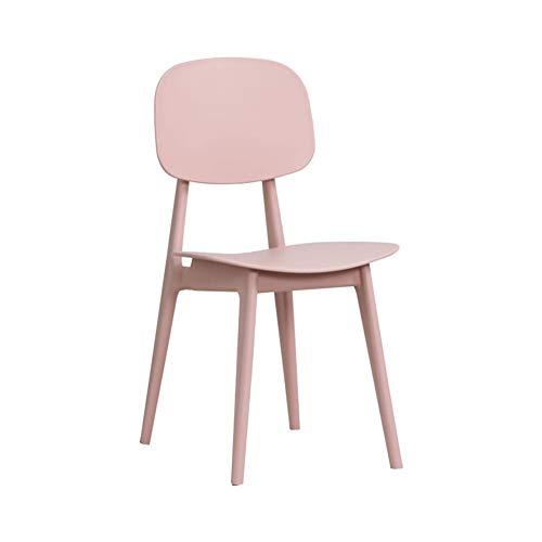 Nileco moderne eetstoel, roze bureaustoelen zijkant stoel kunststof barkruk anti-slip parsons stoel woonkamer meisje kamer kantoor roze 49 x 35 x 82 cm (19 x 14 x 32 inch)