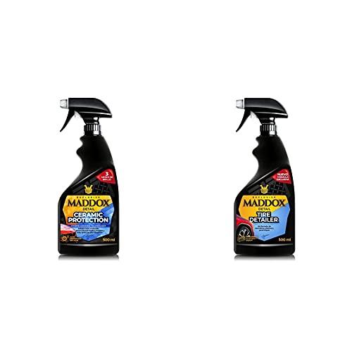 Maddox Detail Ceramic Protection – Tratamiento Cerámico Profesional para Pintura con Protección Hidrofóbica + Tire Detailer Abrillantador De Neumáticos, Plásticos, Gomas De Exterior