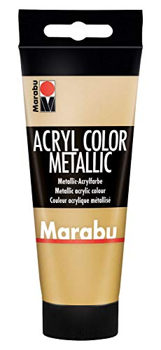 Marabu 12010050084 - Acryl Color gold 100 ml, cremige Acrylfarbe auf Wasserbasis, schnell trocknend, lichtecht, wasserfest, zum Auftragen mit Pinsel & Schwamm auf Leinwand, Papier & Holz