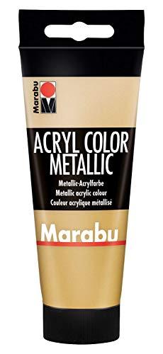 Marabu 12010050084 - Acryl Color gold 100 ml, cremige Acrylfarbe auf Wasserbasis, schnell trocknend, lichtecht, wasserfest, zum Auftragen mit Pinsel und Schwamm auf Leinwand, Papier und Holz