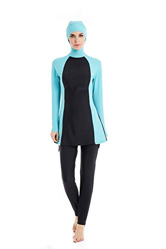 Muslimischen Damen Badeanzug Muslim Islamischen Full Cover Bescheidene Badebekleidung Modest Muslim Swimwear Beachwear Burkini (N1, Large)