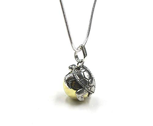 Solid Sterling Silver Turtle Harmony Ball Chime Pendant, Harmony Bola Necklace