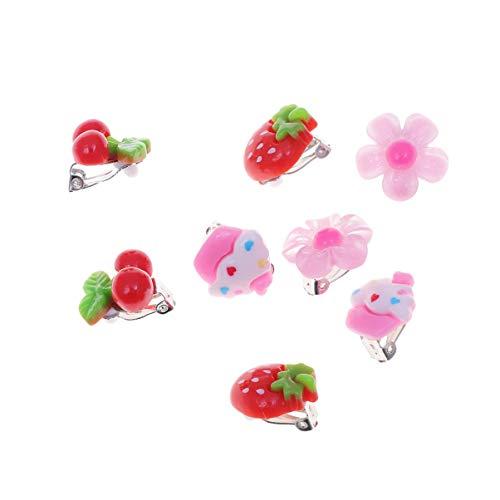 Toyvian Girls Play Orecchini Jewelry Dress Up Cute Kids Clip-on Orecchini Girls Ear Clip Regalo di Compleanno 8 PCS (Strawberry + Cherry + Ice Cream + Flower, 1 Pair Each)