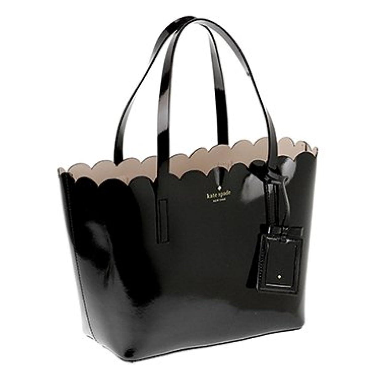 確率悪行抽象(ケイトスペード)kate spade トートバッグ LILY AVENUE PATENT SMALL CARRIGAN PXRU7065 290 BLACK/CRISP LINEN 取寄商品 [並行輸入品]