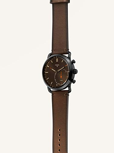 Fashion Shopping Fossil Men's Commuter Stainless Steel and Leather Hybrid Smartwatch, Color: