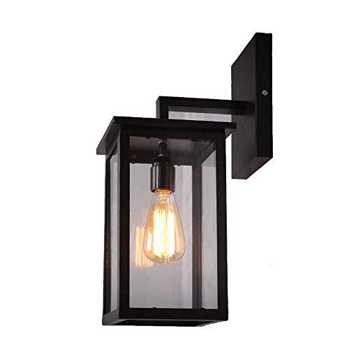 Retro industriële wand-buitenlamp waterdichte outdoor wandlamp vintage ijzeren glazen lampenkap wandverlichting binnen buiten lantaarn E27 zwart frame badkamer hoflamp verlichting IP44 19 * 19 * 32 cm
