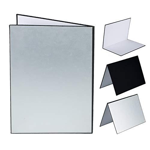 TARION - Tablero de Papel Reflector Plegable de cartón para fotografía con Fondos de fotografía de Fondo de Colores Negro Plateado Blanco A3 (30 x 21cm )