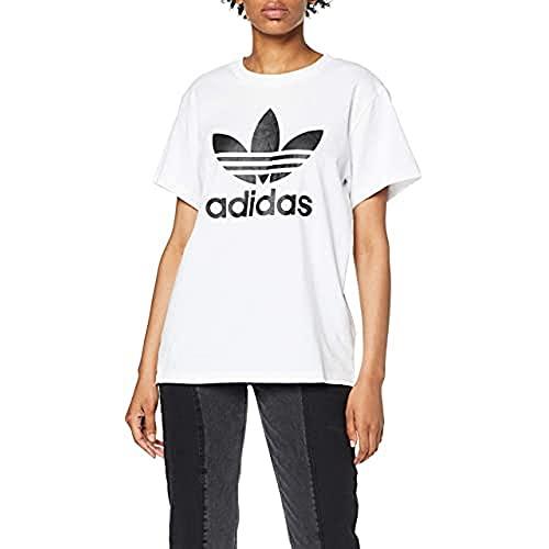 Adidas Boyfriend Trefoil Tee, Maglietta Donna, Bianco, 44
