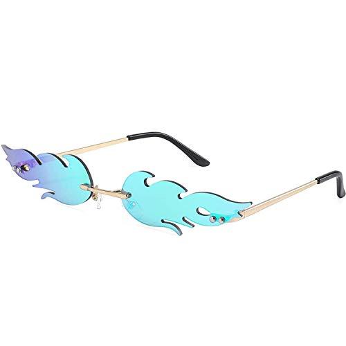 ERIOG Sonnenbrille Mode Feuer Flamme Sonnenbrillen Frauen Männer Design Randlose Welle Brillen Trending Schmale Sonnenbrille Streetwear