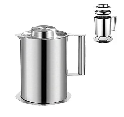 オイルポット フィルター ステンレス製 あぶらこしポット 油 ポット残留物をろ過 キッ(ステンレスフィルター、ダストカバー、滑り止め底付き)天ぷら油、サラダ油、揚げ油を保管するためグリース容器 家庭台所やホテルの台所に適しています (1.8L)