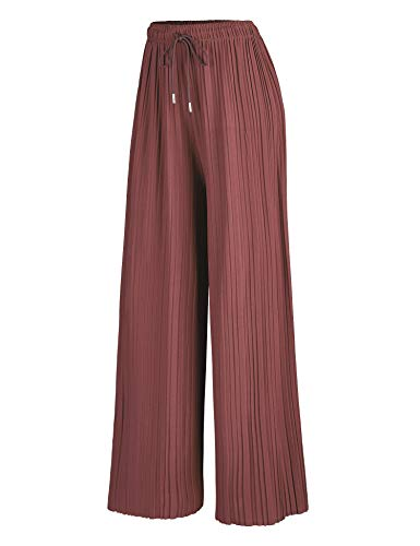 Made By Johnny MBJ WB1484 Womens Pleated Wide Leg Palazzo Pants with Drawstring OneSize Marsala
