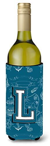 Letra L mar Doodles inicial del alfabeto para botella de vino Koozie Hugger cj2014-lliterk