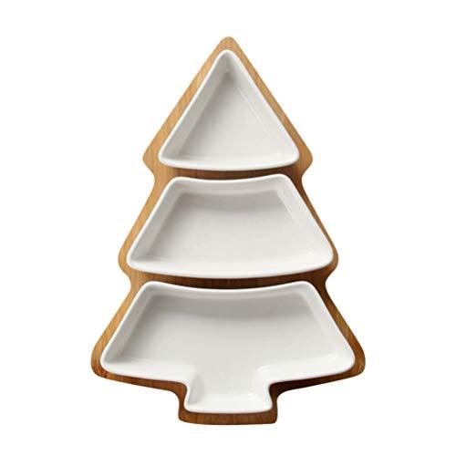 DOITOOL Plato de cerámica de Navidad extraíble para servir árbol de Navidad, bandeja de aperitivo, plato de postre de porcelana con base de bambú para vacaciones, bodas, hogar, fiesta, color blanco