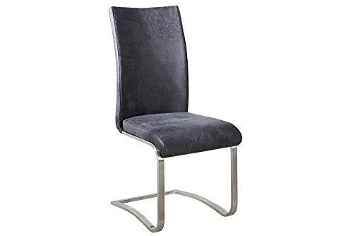 Riess Ambiente Premium Freischwinger Stuhl Arco Original MCA antik Look grau mit gebürstetem...
