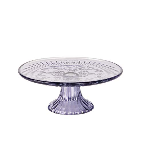 KMwares 9' D Colored Glass Round Cake Stand, Serving Platter, Multifunctional Dessert Plate with Beautiful Lavender Color for Wedding, Birthday Party, Kicthen Baking Ware